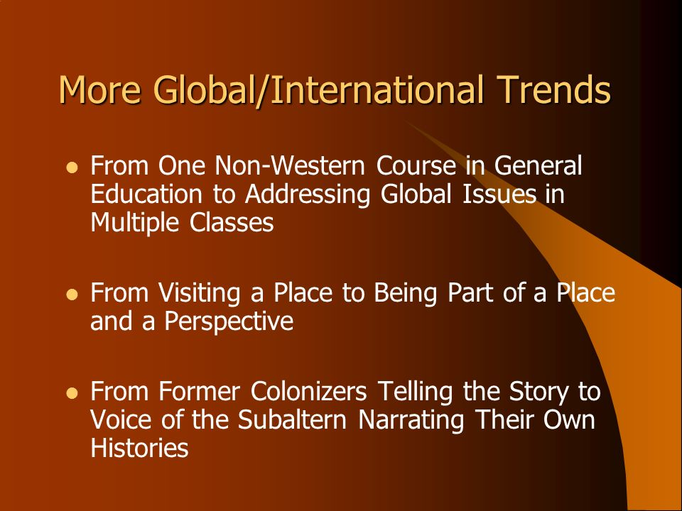 More Global/International Trends From One Non-Western Course in General Education to Addressing Global Issues in Multiple Classes From Visiting a Plac