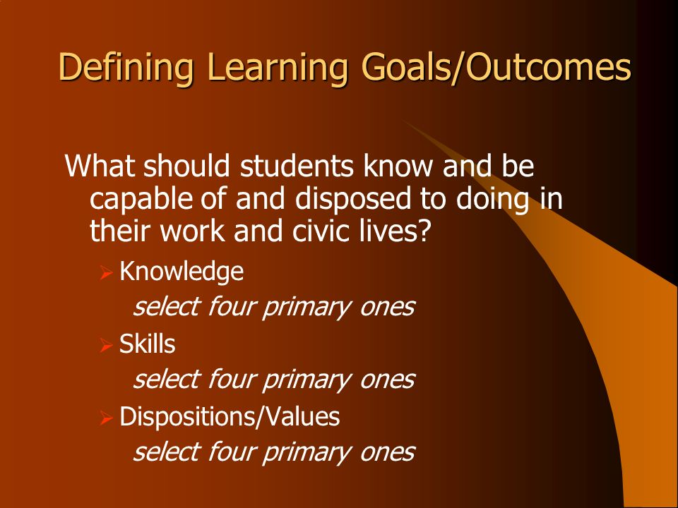 Defining Learning Goals/Outcomes What should students know and be capable of and disposed to doing in their work and civic lives? Knowledge select fou
