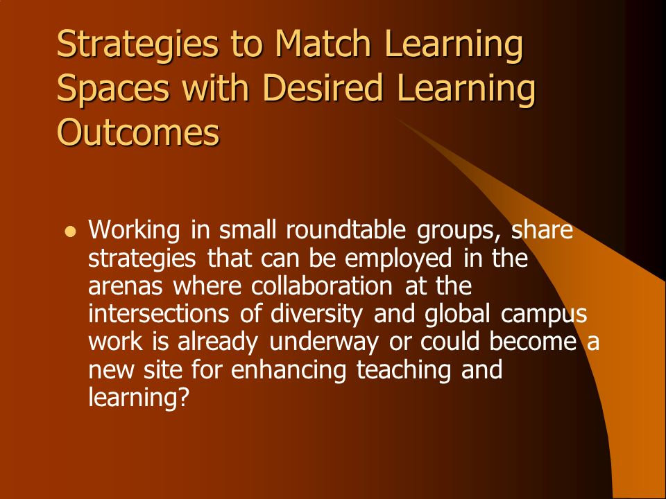 Strategies to Match Learning Spaces with Desired Learning Outcomes Working in small roundtable groups, share strategies that can be employed in the ar