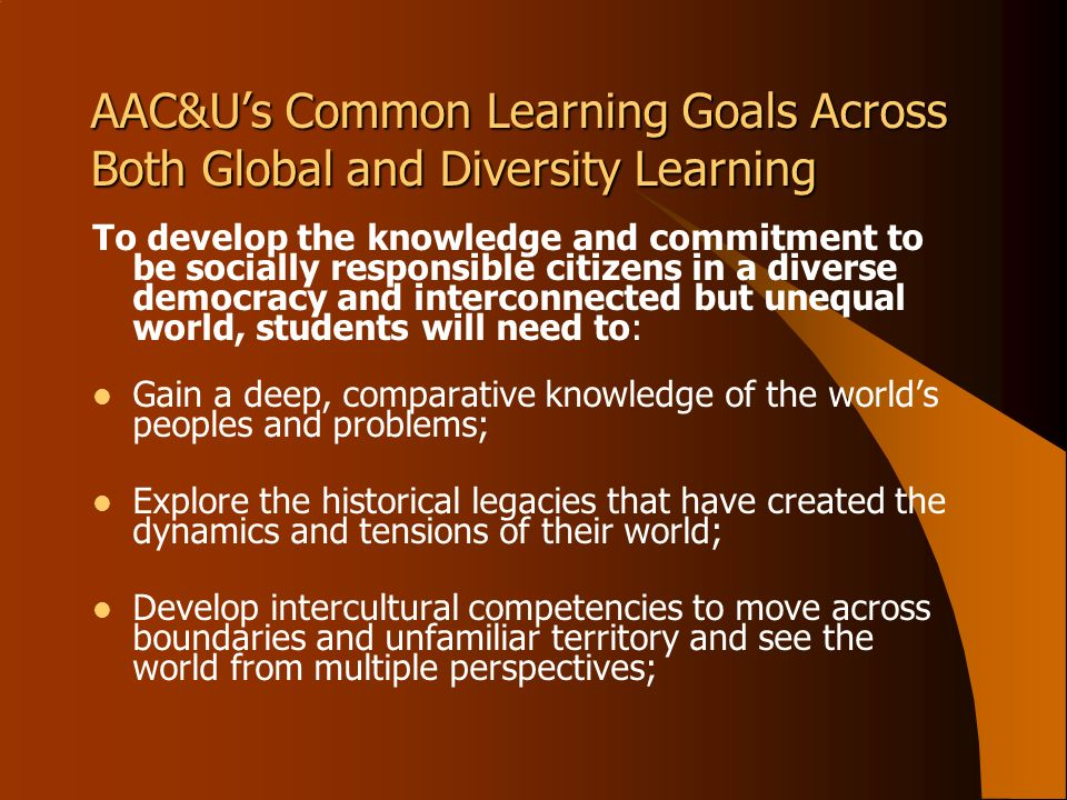 AAC&Us Common Learning Goals Across Both Global and Diversity Learning To develop the knowledge and commitment to be socially responsible citizens in