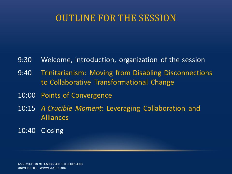 OUTLINE FOR THE SESSION 9:30Welcome, introduction, organization of the session 9:40Trinitarianism: Moving from Disabling Disconnections to Collaborati