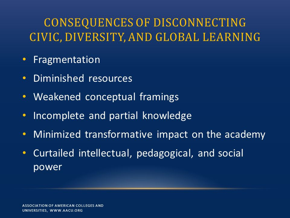 CONSEQUENCES OF DISCONNECTING CIVIC, DIVERSITY, AND GLOBAL LEARNING Fragmentation Diminished resources Weakened conceptual framings Incomplete and partial knowledge Minimized transformative impact on the academy Curtailed intellectual, pedagogical, and social power ASSOCIATION OF AMERICAN COLLEGES AND UNIVERSITIES, WWW.AACU.ORG