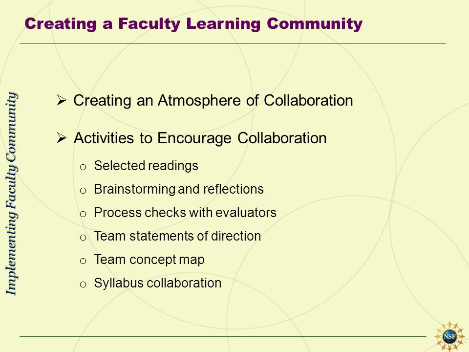 Creating a Faculty Learning Community Creating an Atmosphere of Collaboration Activities to Encourage Collaboration o Selected readings o Brainstormin