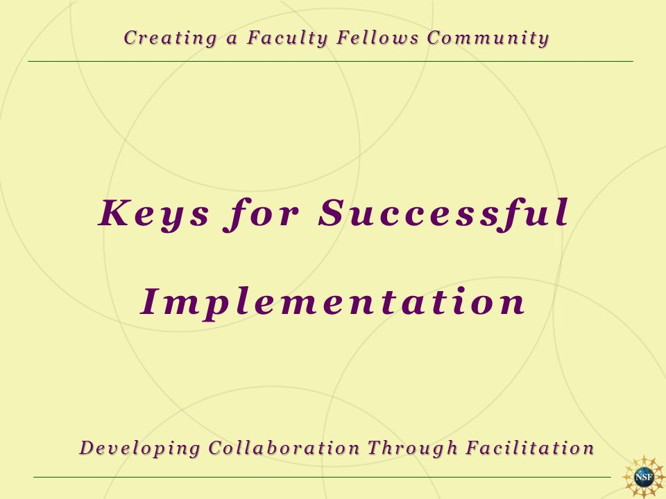 Keys for Successful Implementation Creating a Faculty Fellows Community Developing Collaboration Through Facilitation