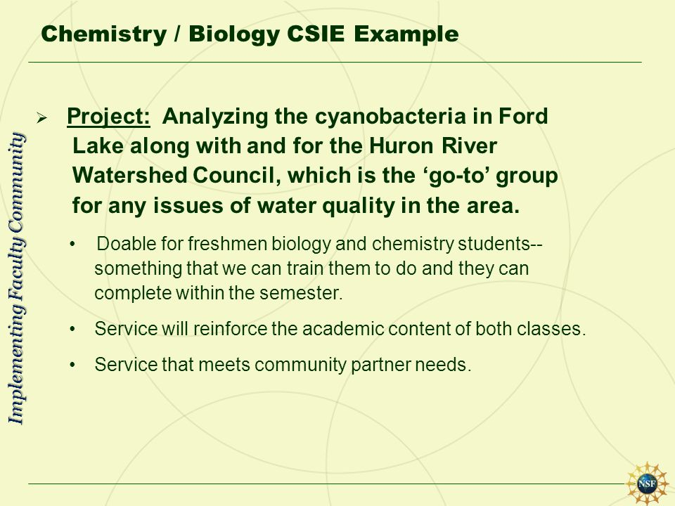 Chemistry / Biology CSIE Example Project: Analyzing the cyanobacteria in Ford Lake along with and for the Huron River Watershed Council, which is the
