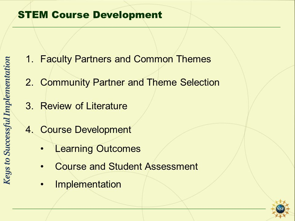 STEM Course Development 1.Faculty Partners and Common Themes 2.Community Partner and Theme Selection 3.Review of Literature 4.Course Development Learn