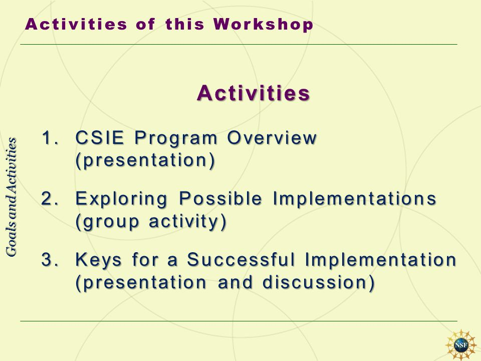 Activities 1. CSIE Program Overview (presentation) 2. Exploring Possible Implementations (group activity) 3. Keys for a Successful Implementation (pre
