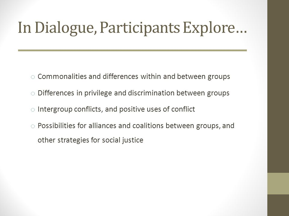 In Dialogue, Participants Explore… o Commonalities and differences within and between groups o Differences in privilege and discrimination between groups o Intergroup conflicts, and positive uses of conflict o Possibilities for alliances and coalitions between groups, and other strategies for social justice