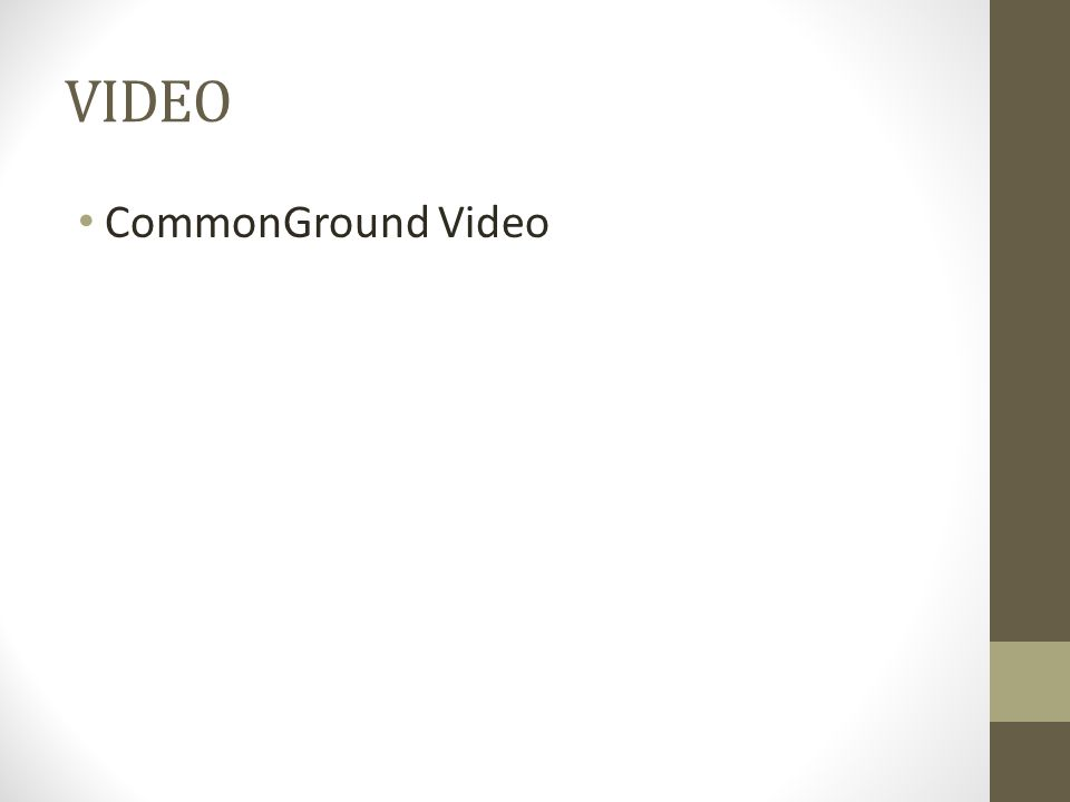 VIDEO CommonGround Video