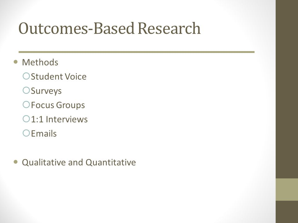 Outcomes-Based Research Methods Student Voice Surveys Focus Groups 1:1 Interviews Emails Qualitative and Quantitative