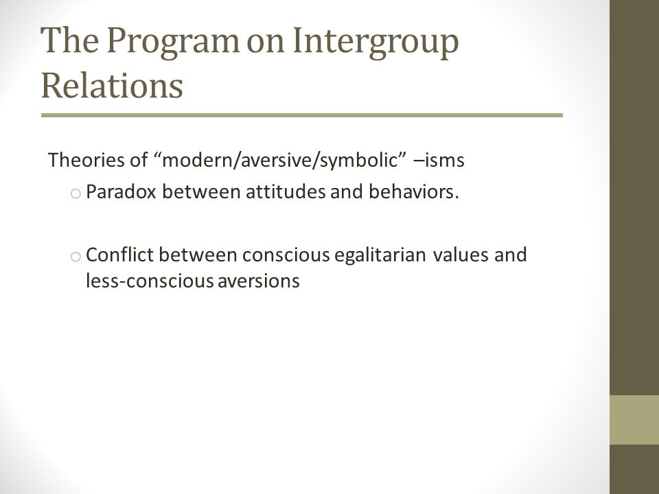The Program on Intergroup Relations Theories of modern/aversive/symbolic –isms o Paradox between attitudes and behaviors. o Conflict between conscious