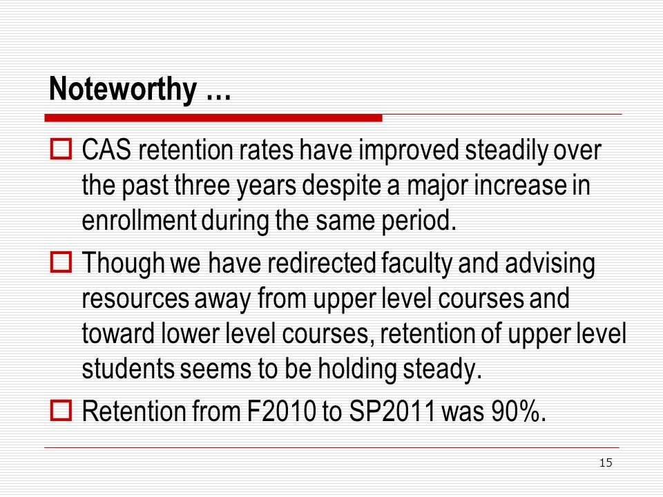 Noteworthy … CAS retention rates have improved steadily over the past three years despite a major increase in enrollment during the same period. Thoug