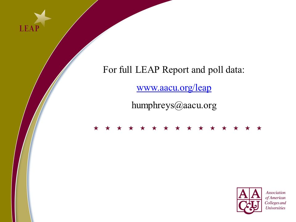 For full LEAP Report and poll data: www.aacu.org/leap humphreys@aacu.org