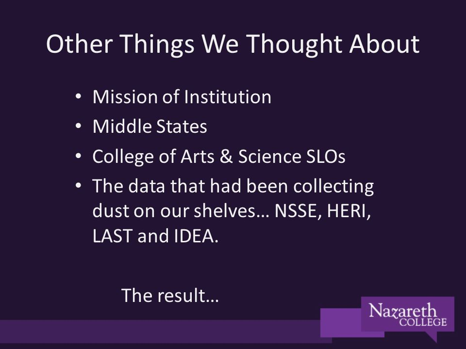 Other Things We Thought About Mission of Institution Middle States College of Arts & Science SLOs The data that had been collecting dust on our shelves… NSSE, HERI, LAST and IDEA.