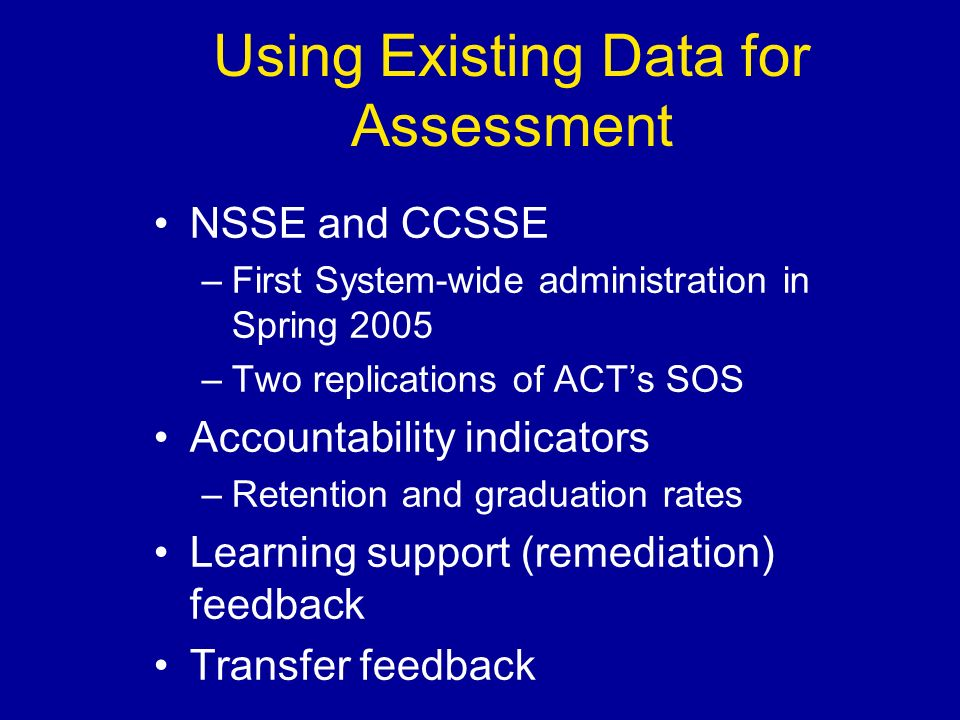 Using Existing Data for Assessment NSSE and CCSSE –First System-wide administration in Spring 2005 –Two replications of ACTs SOS Accountability indica