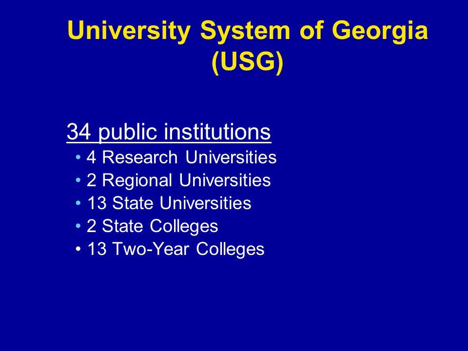 University System of Georgia (USG) 34 public institutions 4 Research Universities 2 Regional Universities 13 State Universities 2 State Colleges 13 Two-Year Colleges