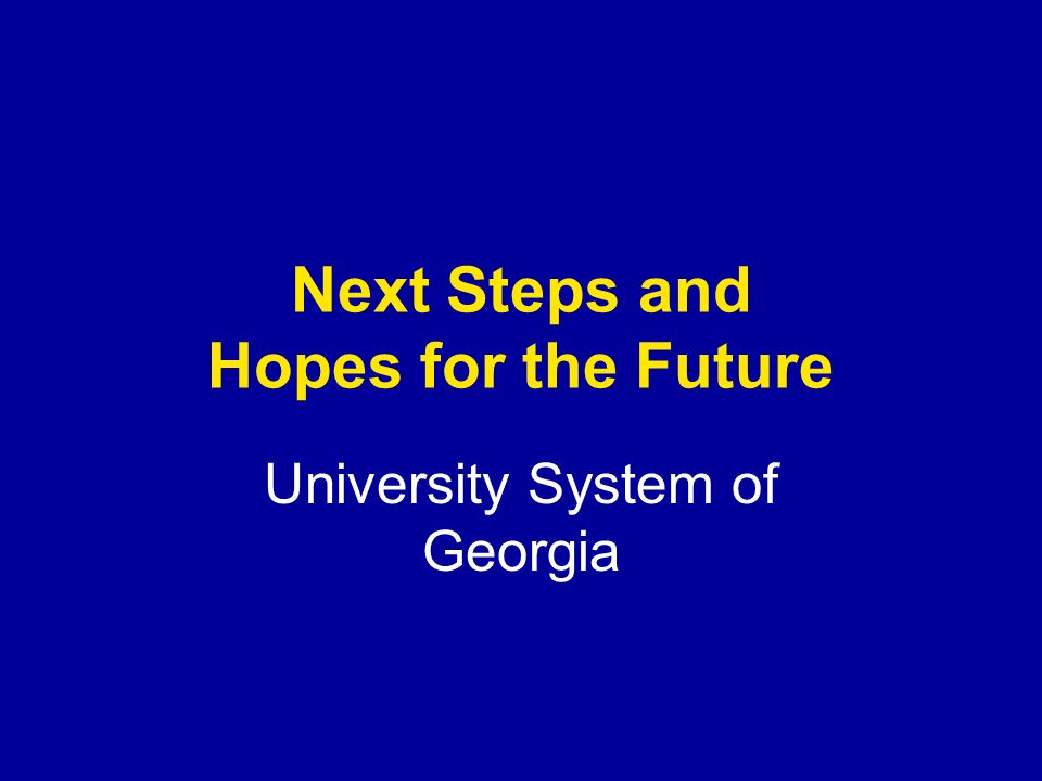 Next Steps and Hopes for the Future University System of Georgia