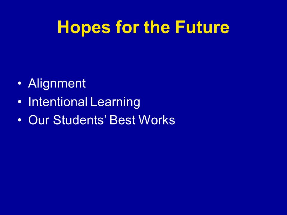 Hopes for the Future Alignment Intentional Learning Our Students Best Works