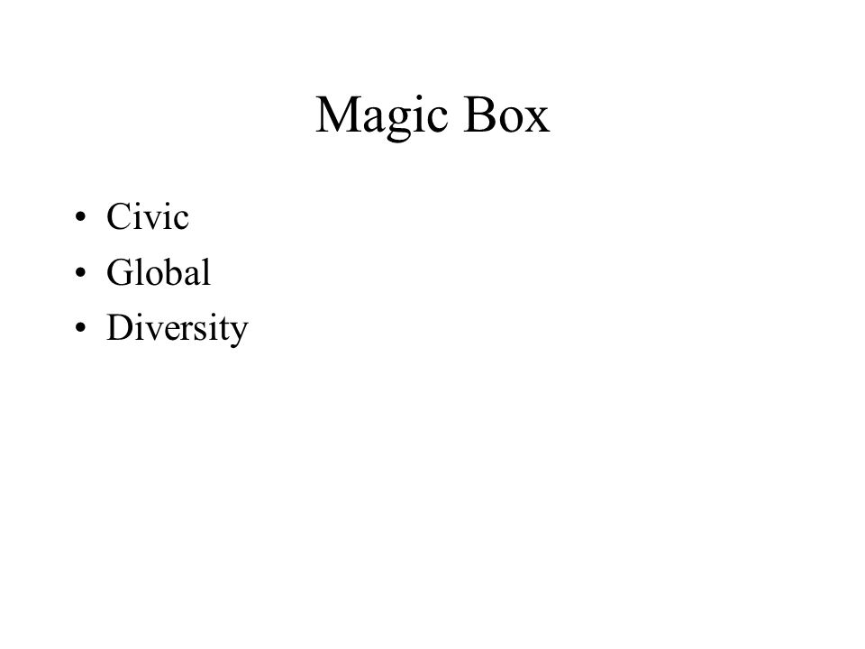 Magic Box Civic Global Diversity