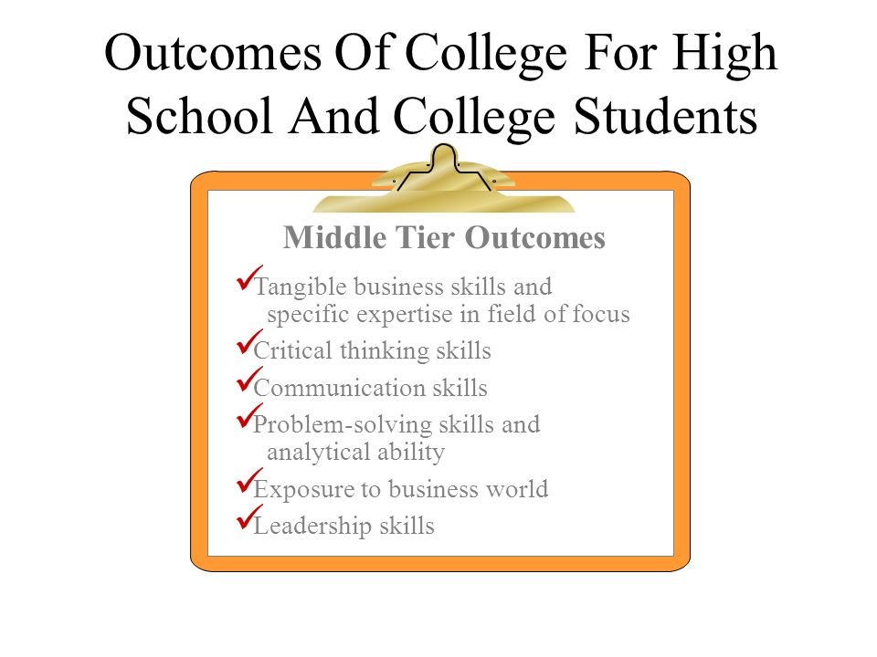 Outcomes Of College For High School And College Students Middle Tier Outcomes Tangible business skills and specific expertise in field of focus Critic