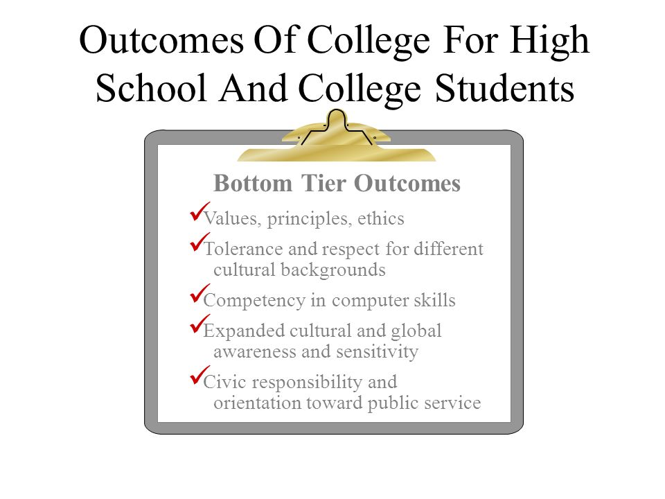 Outcomes Of College For High School And College Students Bottom Tier Outcomes Values, principles, ethics Tolerance and respect for different cultural