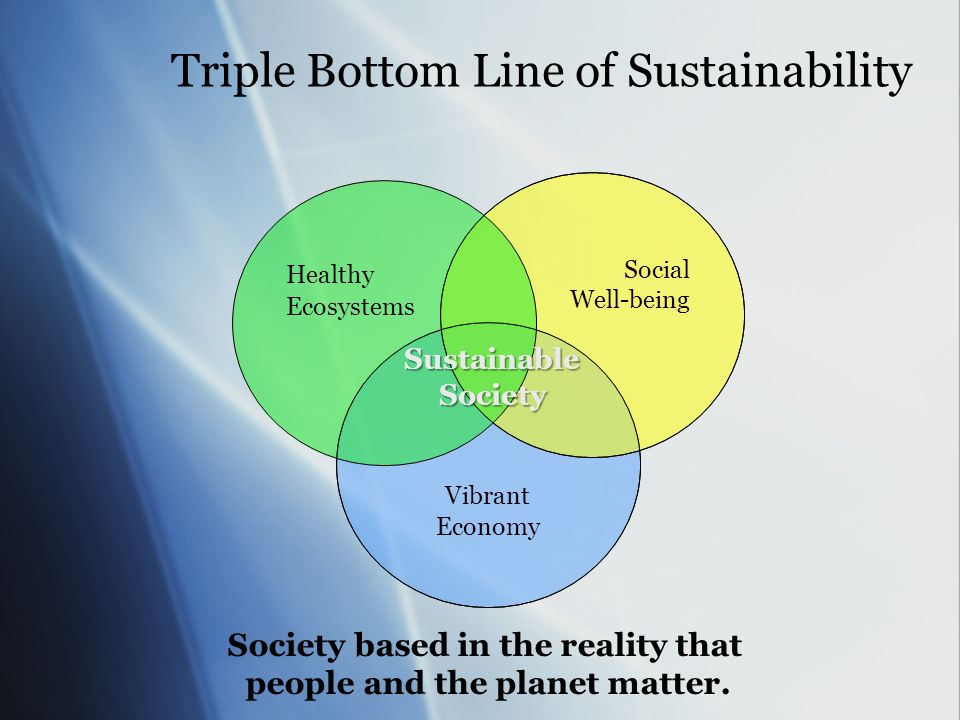 Triple Bottom Line of Sustainability Vibrant Economy Social Well-being Healthy Ecosystems SustainableSociety Society based in the reality that people and the planet matter.