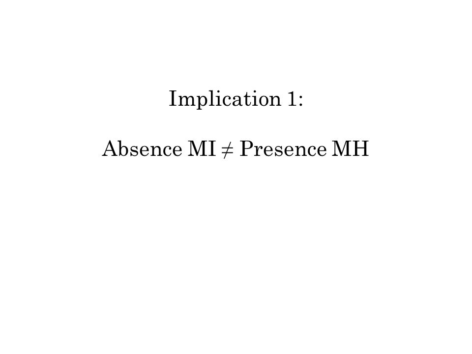Implication 1: Absence MI Presence MH