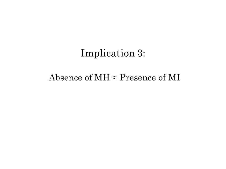 Implication 3: Absence of MH Presence of MI