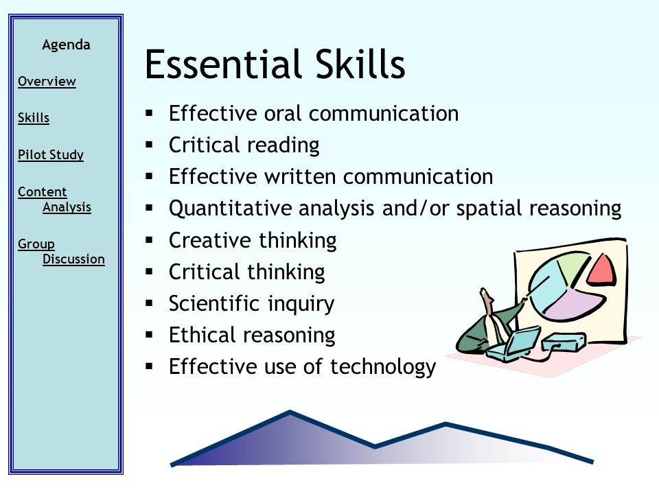 Effective oral communication Critical reading Effective written communication Quantitative analysis and/or spatial reasoning Creative thinking Critical thinking Scientific inquiry Ethical reasoning Effective use of technology Agenda Overview Skills Pilot Study Content Analysis Group Discussion Essential Skills