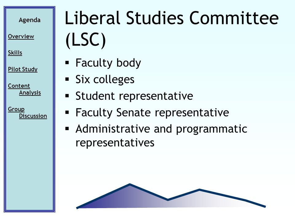 Faculty body Six colleges Student representative Faculty Senate representative Administrative and programmatic representatives Agenda Overview Skills Pilot Study Content Analysis Group Discussion Liberal Studies Committee (LSC)