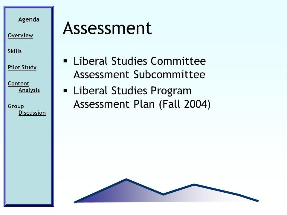 Liberal Studies Committee Assessment Subcommittee Liberal Studies Program Assessment Plan (Fall 2004) Agenda Overview Skills Pilot Study Content Analysis Group Discussion Assessment