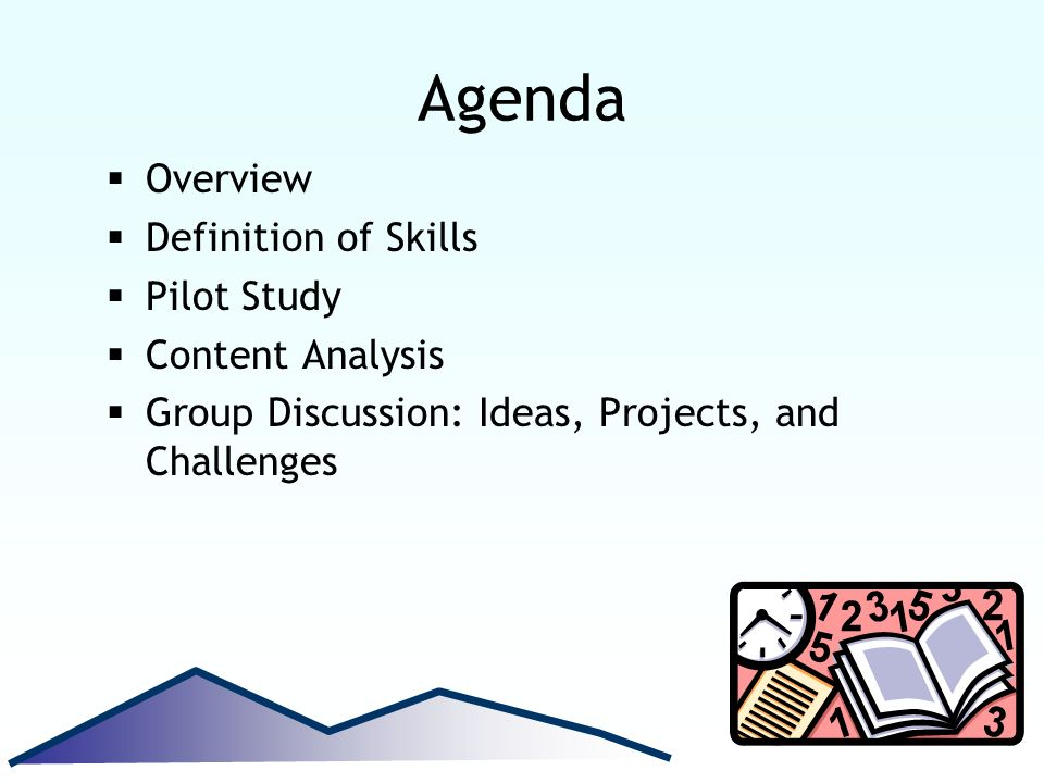 Agenda Overview Definition of Skills Pilot Study Content Analysis Group Discussion: Ideas, Projects, and Challenges