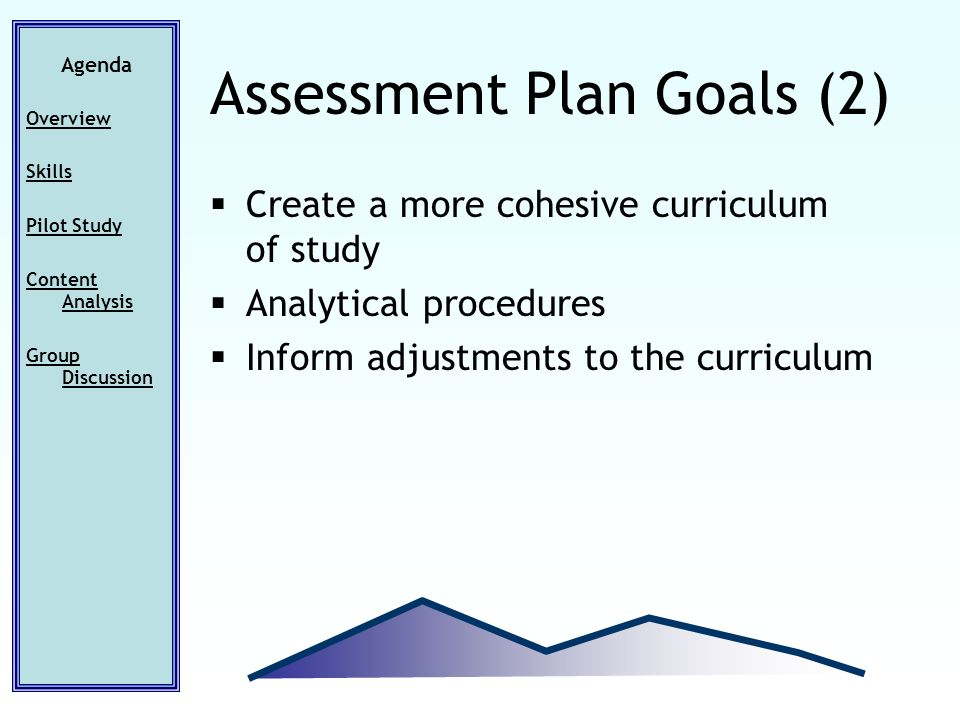 Create a more cohesive curriculum of study Analytical procedures Inform adjustments to the curriculum Agenda Overview Skills Pilot Study Content Analysis Group Discussion Assessment Plan Goals (2)