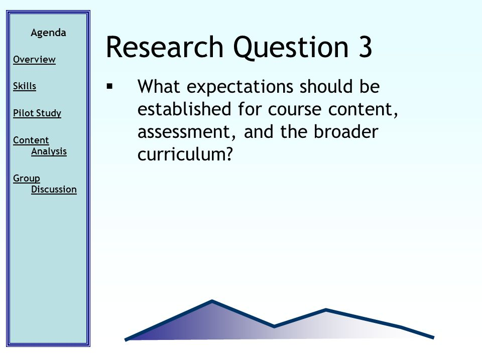 What expectations should be established for course content, assessment, and the broader curriculum? Agenda Overview Skills Pilot Study Content Analysi