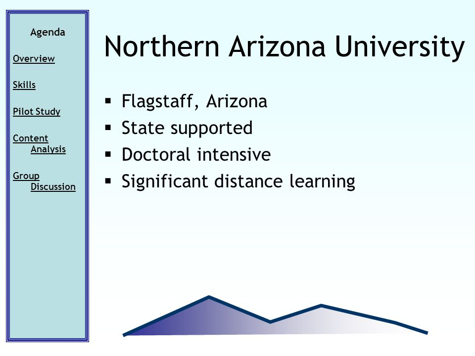 Flagstaff, Arizona State supported Doctoral intensive Significant distance learning Agenda Overview Skills Pilot Study Content Analysis Group Discussion Northern Arizona University