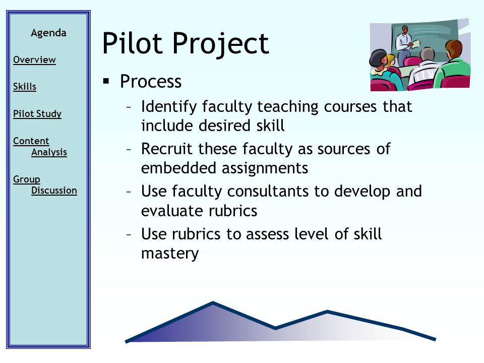 Agenda Overview Skills Pilot Study Content Analysis Group Discussion Pilot Project Process –Identify faculty teaching courses that include desired skill –Recruit these faculty as sources of embedded assignments –Use faculty consultants to develop and evaluate rubrics –Use rubrics to assess level of skill mastery
