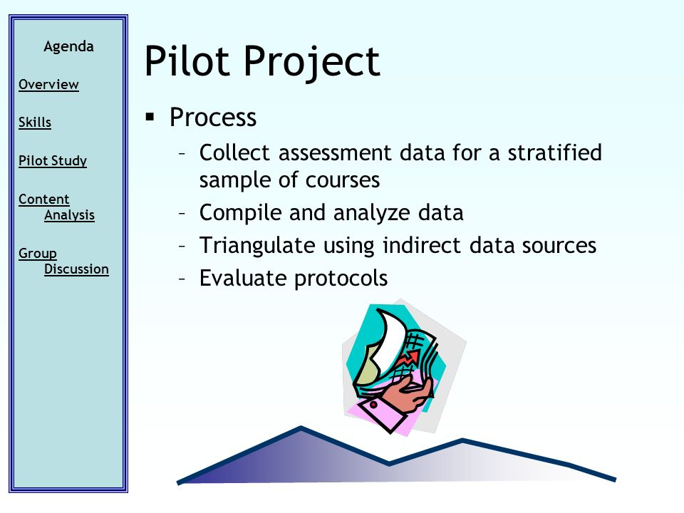 Agenda Overview Skills Pilot Study Content Analysis Group Discussion Pilot Project Process –Collect assessment data for a stratified sample of courses –Compile and analyze data –Triangulate using indirect data sources –Evaluate protocols