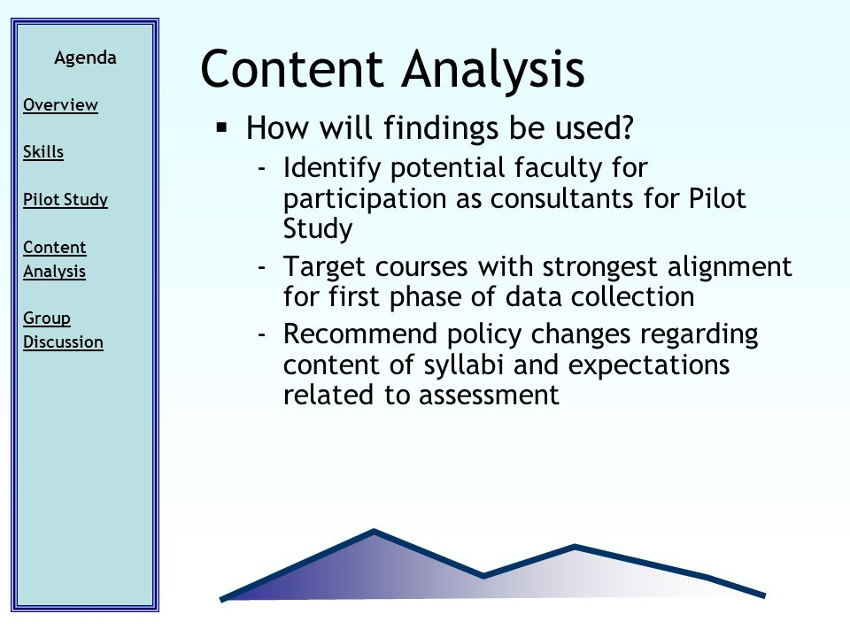 How will findings be used? -Identify potential faculty for participation as consultants for Pilot Study -Target courses with strongest alignment for f