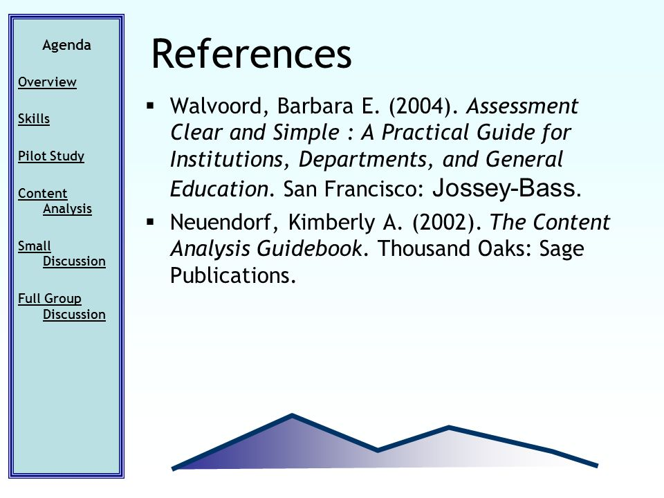 Walvoord, Barbara E. (2004). Assessment Clear and Simple : A Practical Guide for Institutions, Departments, and General Education. San Francisco: Joss