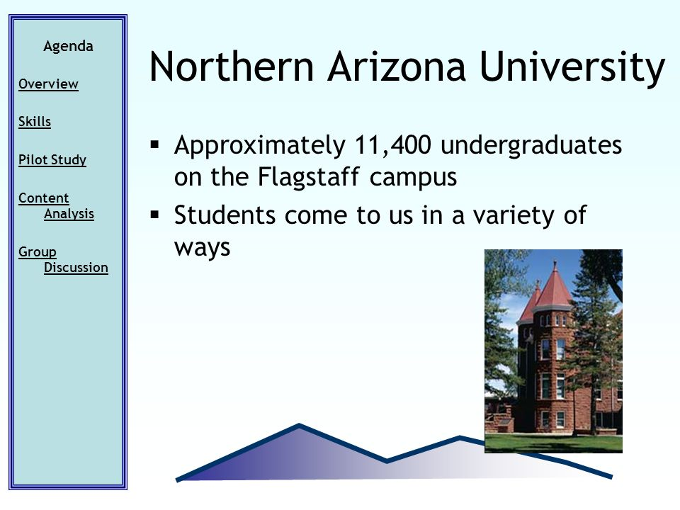 Approximately 11,400 undergraduates on the Flagstaff campus Students come to us in a variety of ways Agenda Overview Skills Pilot Study Content Analys