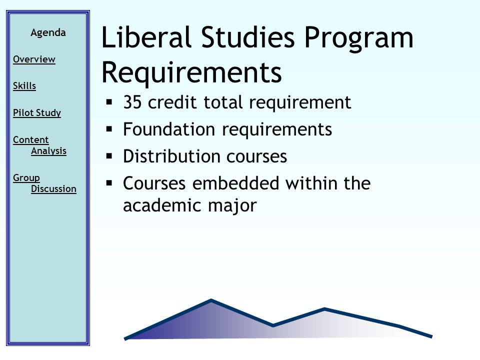 35 credit total requirement Foundation requirements Distribution courses Courses embedded within the academic major Agenda Overview Skills Pilot Study