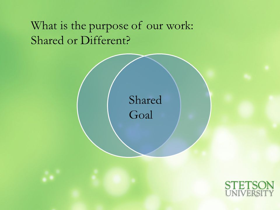 Shared Goal What is the purpose of our work: Shared or Different?