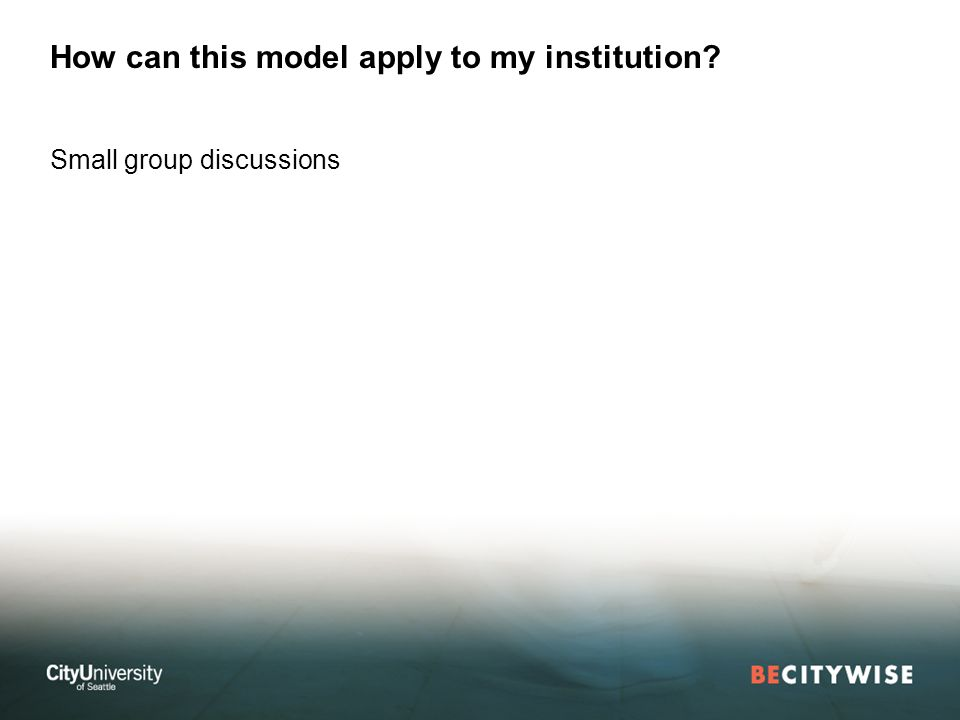 How can this model apply to my institution Small group discussions