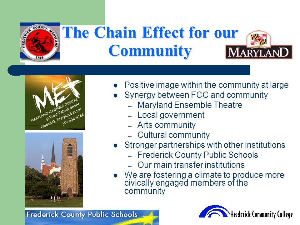 The Chain Effect for our Community Positive image within the community at large Synergy between FCC and community – Maryland Ensemble Theatre – Local