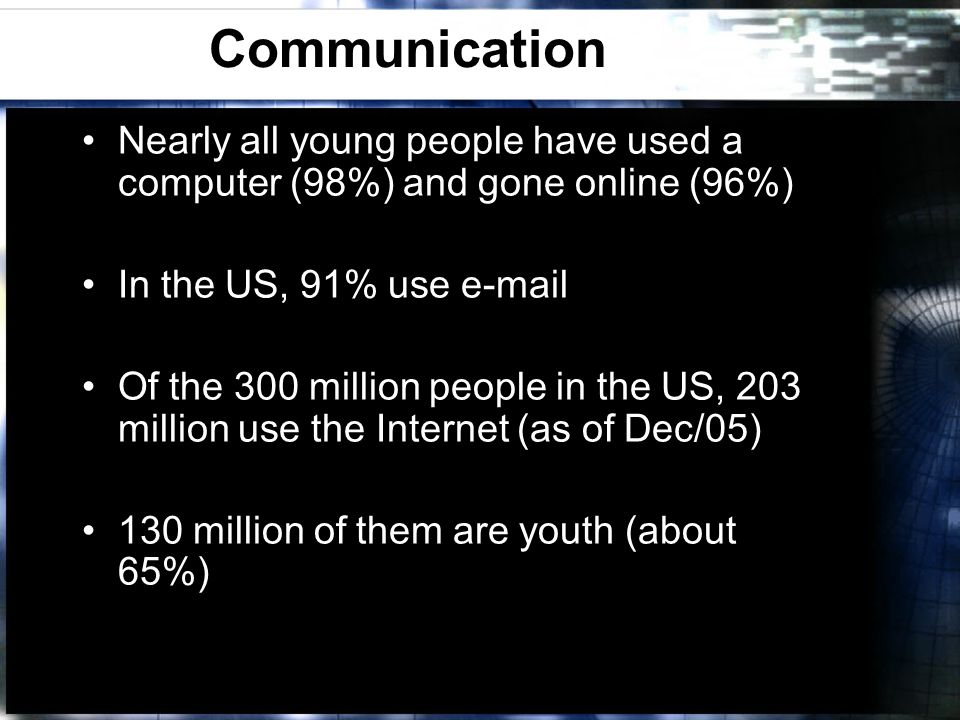 Communication Nearly all young people have used a computer (98%) and gone online (96%) In the US, 91% use e-mail Of the 300 million people in the US, 203 million use the Internet (as of Dec/05) 130 million of them are youth (about 65%)