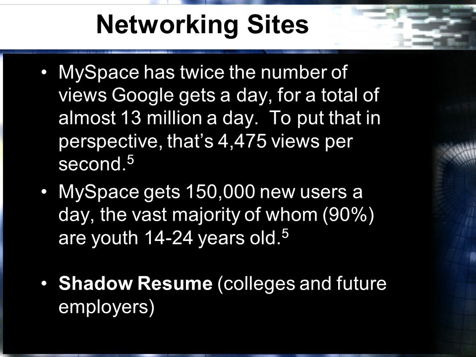 Networking Sites MySpace has twice the number of views Google gets a day, for a total of almost 13 million a day. To put that in perspective, thats 4,