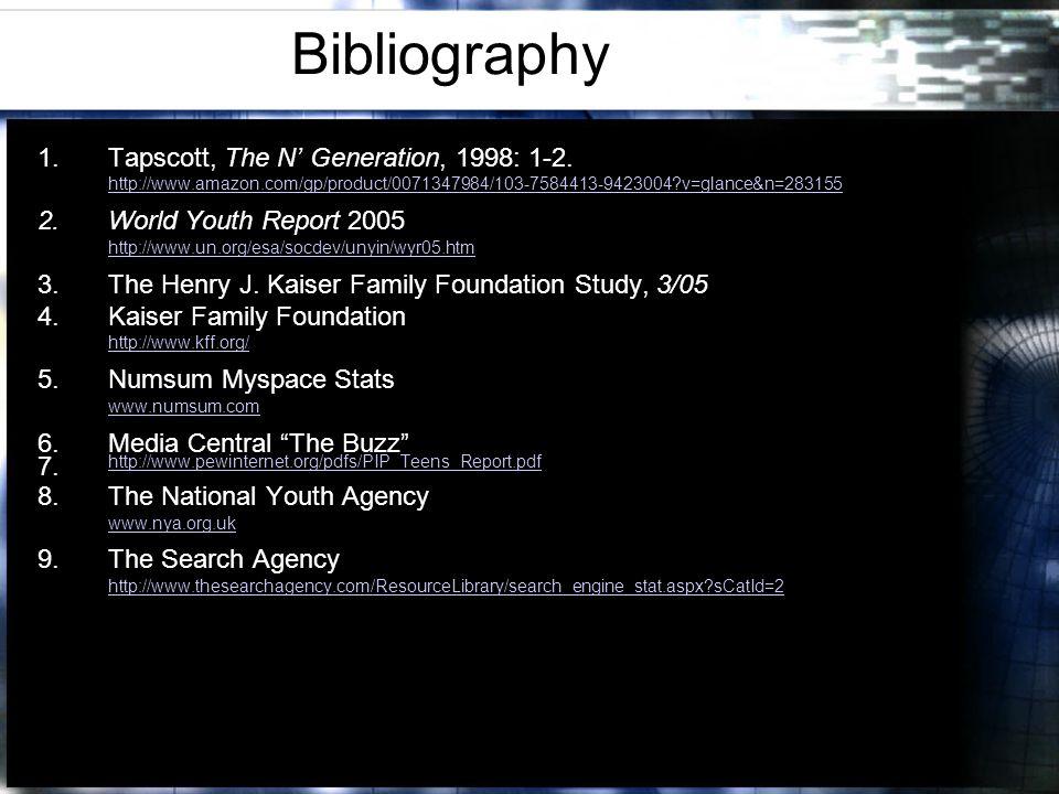 Bibliography 1.Tapscott, The N Generation, 1998: 1-2.