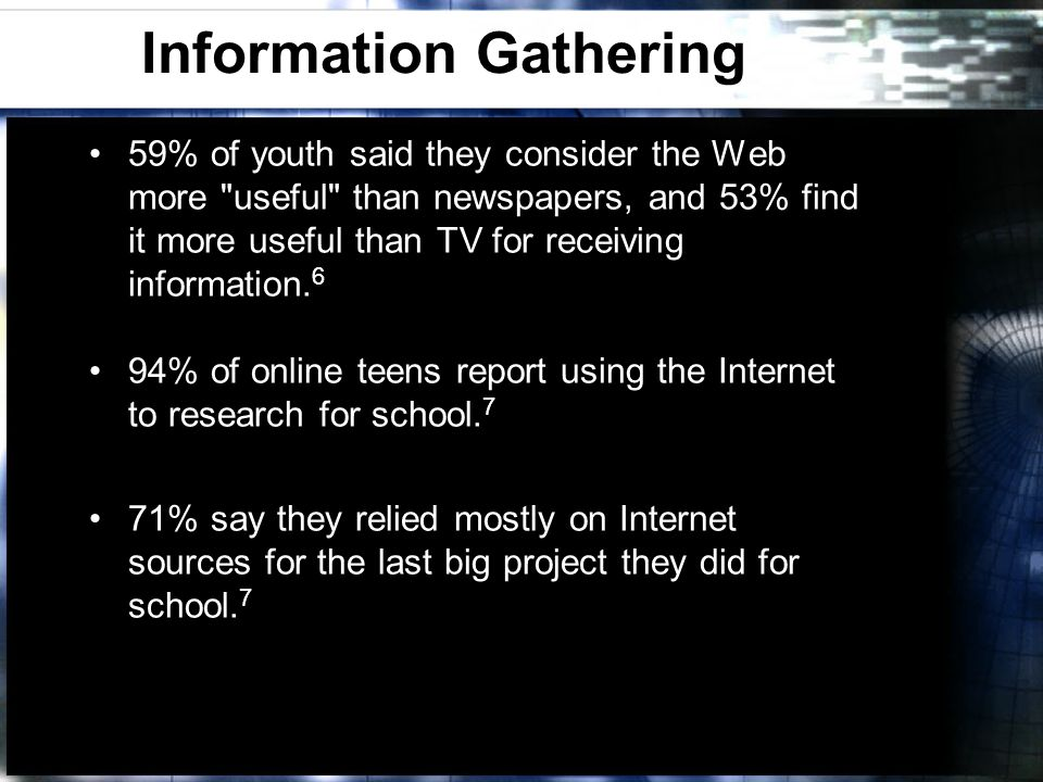 Information Gathering 59% of youth said they consider the Web more