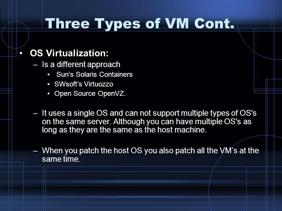 Three Types of VM Cont.