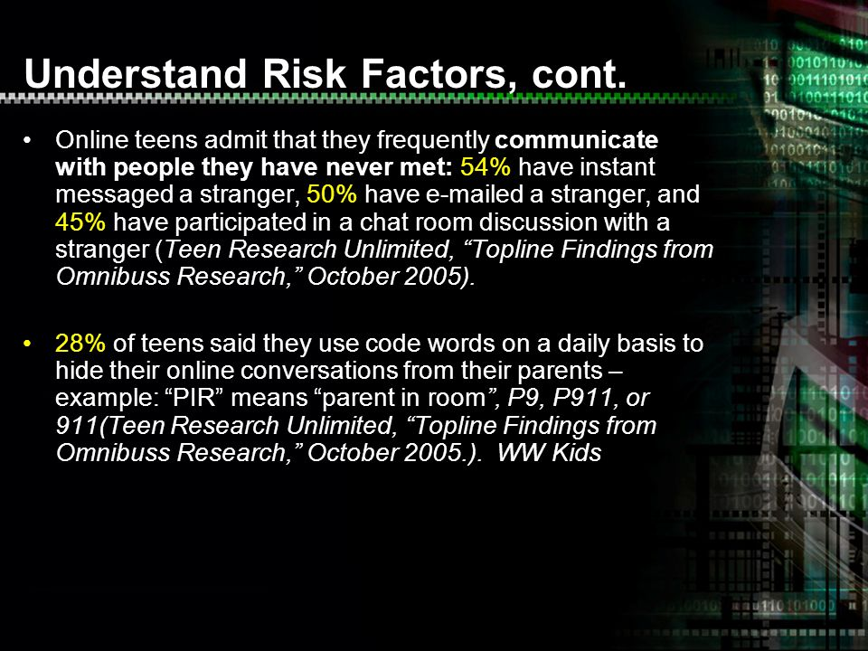 Understand Risk Factors, cont.